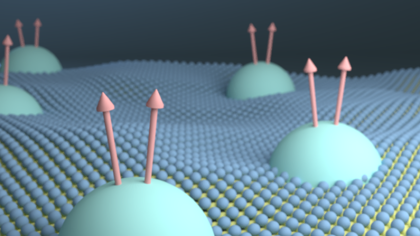 """Illustration of the monolayer WSe2 hosting """"composite fermions"""""""
